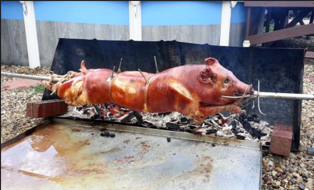 spit roast pig